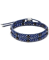 Swarovski Stainless Steel Cotton Cord Blue And Black Beaded Tomboy Wrap Bracelet