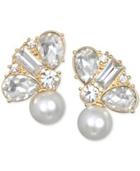 Jewel Badgley Mischka Crystal And Imitation Pearl Stud Earrings Gold