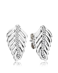 Pandora Design Pandora Earrings Sterling Silver And Cubic Zirconia Shimmering Feathers