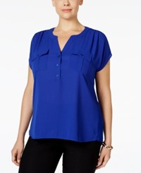 Inc International Concepts Plus Size Mixed Media Utility Shirt Only At Macy's Goddess Blue