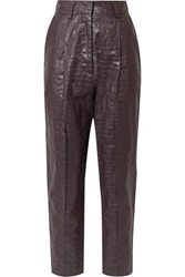 Beaufille Nova Croc Effect Coated Linen Tapered Pants Plum