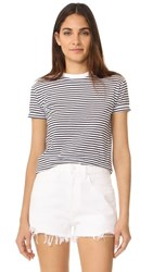 Alexander Wang T By Short Sleeve Crew Neck Tee White With Navy Stripes