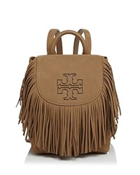 Tory Burch Harper Fringe Mini Leather Backpack Otter Brown