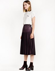 Pixie Market Burgundy Metallic Pleated Skirt