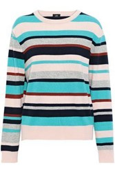 Line Woman Phillipa Striped Cashmere Sweater Turquoise