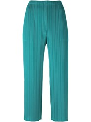 Issey Miyake Pleats Please By Pleated Cropped Trousers Green