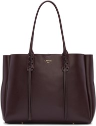 Lanvin Burgundy Leather Small Shopper Bag