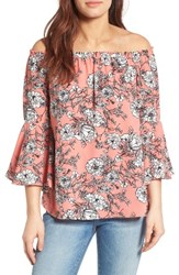 Bobeau Women's Bell Sleeve Off The Shoulder Blouse Coral Eggshell