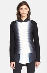 Vince Vertical Dip Dye Cable Knit Sweater Off White Black