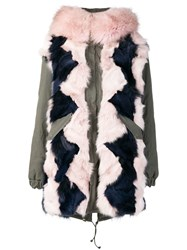 Mr And Mrs Italy Colour Block Fur Parka Coat Green