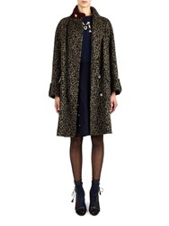 Alexis Mabille Oversize Coat In Leopard Wool Cloth Brown Black