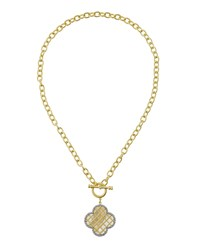 Freida Rothman Crystal And Mother Of Pearl Clover Pendant Link Necklace Women's