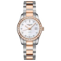 Longines L22855887 Women's Conquest Classic Diamond Automatic Date Bracelet Strap Watch Silver Rose Gold