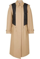 Alexander Wang Layered Cotton Blend Gabardine And Ostrich Effect Leather Trench Coat Beige