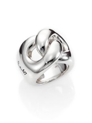 Pomellato 67 Sterling Silver Gourmette Link Knot Ring