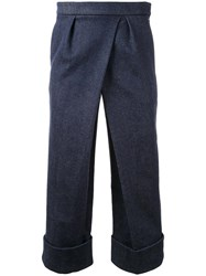 Fad Three Front Pleat Cropped Trousers Blue