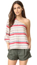 Tanya Taylor Textured Stripe Elsa Top Wheat Multi