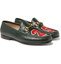 Gucci Roos Horsebit Appliqued Leather Loafers Dark Green