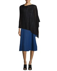 Sheer Hemp Blend Shadow Plaid Poncho Black Women's Eileen Fisher