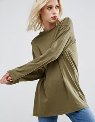 Asos Long Sleeve Longline T Shirt Khaki Green