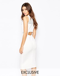 Naanaa Panelled Mesh Insert Midi Bodycon Dress With Open Back Detail White