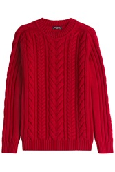 Balmain Merino Wool Cable Knit Pullover Red