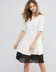 Traffic People Trafffic 3 4 Sleeve Skater Dress With Lace Insert Cream