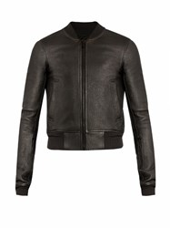 Rick Owens Leather Bomber Jacket Black