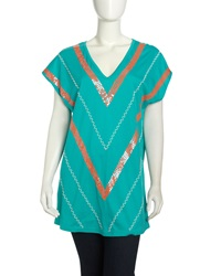 Single Dress Single V Sequined Tunic Mint