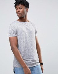 Asos Longline T Shirt With Boat Neck And Mini Step Hem In Grey Grey