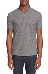 The Kooples Men's Sport Pipe Trim Band Collar Pique Polo Grey