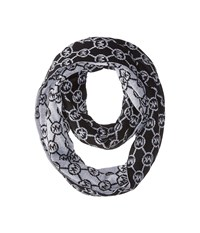 Michael Michael Kors Jet Set Logo With Lurex Small Infinity Scarf Black Pearl Heather Grey Silver Scarves Gray