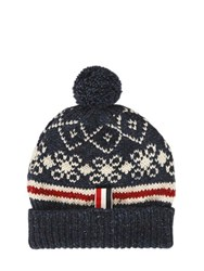 Thom Browne Wool And Mohair Knit Beanie With Pompom