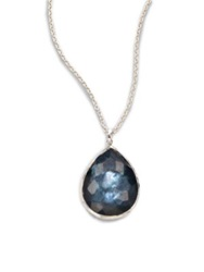 Ippolita Wonderland Indigo Mother Of Pearl Clear Quartz And Sterling Silver Large Teardrop Doublet Pendant