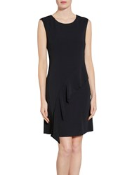 Gina Bacconi Moss Crepe Dress With Frill Detail Black