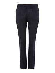 Label Lab Lennox Skinny Fit Lurex Check Suit Trousers Blue