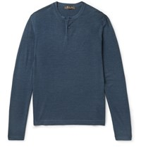 Loro Piana Wool And Silk Blend Henley T Shirt Petrol