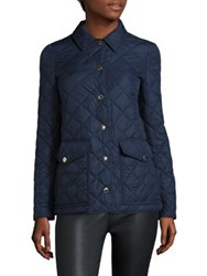 Burberry Quilted Snap Button Jacket Navy