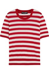 Dolce And Gabbana Striped Cashmere And Silk Blend Top Red