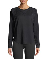 Beyond Yoga Calico Scoop Neck Long Sleeve Pullover Sweater Black