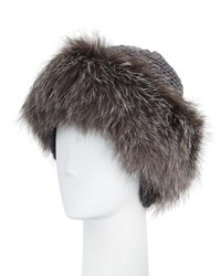 Inverni Cashmere And Fox Fur Beanie Charcoal Silver Charcoal Silver