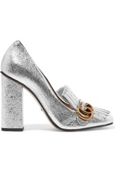 Gucci Fringed Metallic Cracked Leather Pumps Silver