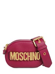 Moschino Logo Grained Leather Camera Bag Violet