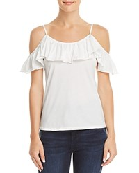 Michelle By Comune Berrien Ruffled Cold Shoulder Tee Vintage White