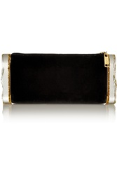 Edie Parker Lara Velvet And Glittered Acrylic Box Clutch