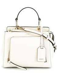 Dkny Zip Pocket Tote White