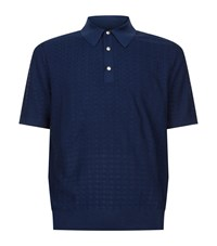 Stefano Ricci Knit Polo Shirt Male Navy