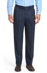 Nordstrom Men's Big And Tall Men's Shop 'Classic' Supima Cotton Pleated Trousers Navy Eclipse