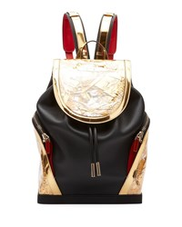 Christian Louboutin Explorafunk Leather Flap Top Backpack Black Gold