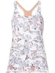 Lucas Hugh Floral Print Technical Vest White
